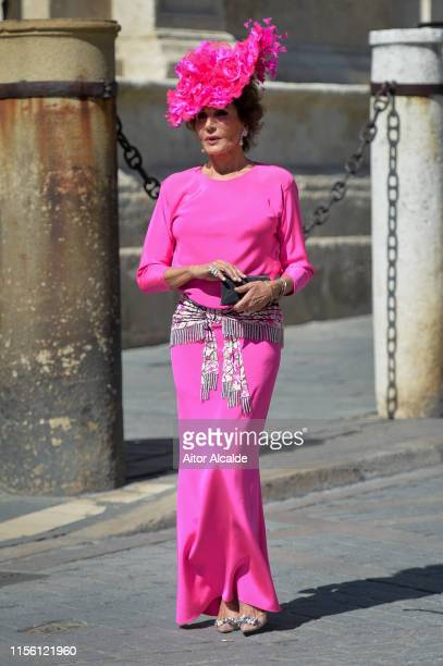 Naty Abascal attends the wedding of real Madrid football player Sergio Ramos and Tv presenter Pilar Rubio at Seville's Cathedral on June 15 2019 in...