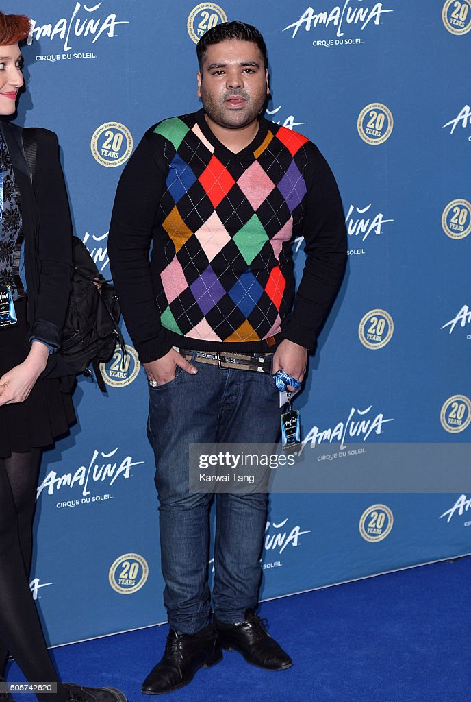 Naughty Boy attends the Red Carpet arrivals for Cirque Du Soleil Amaluna at Royal Albert Hall on January 19, 2016 in London, England.
