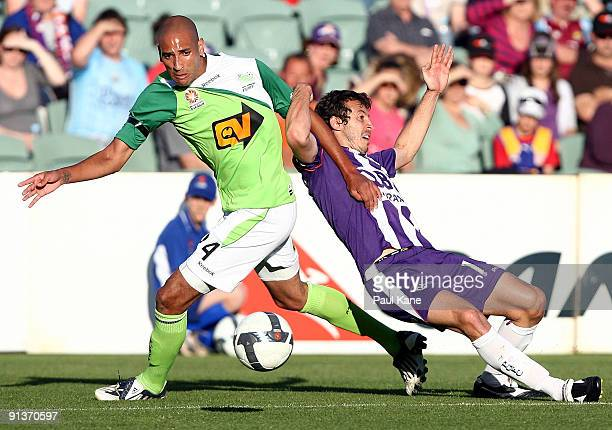 Naum Sekulovski of the Glory and Dyron Daal of the Fury compete for the ball during the round nine ALeague match between the Perth Glory and the...