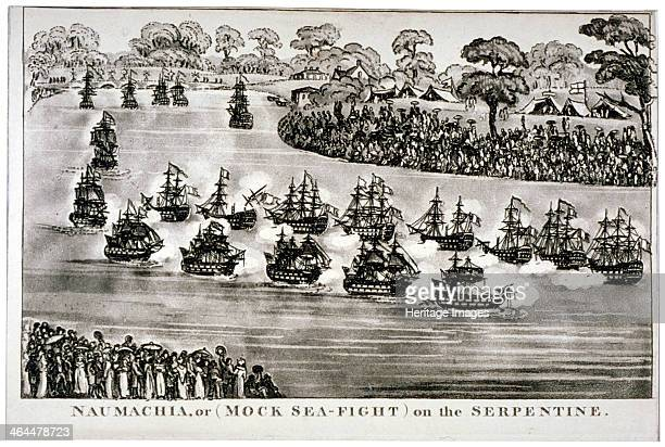'Naumachia or on the Serpentine' Hyde Park London 1814 View of the Serpentine in Hyde Park showing a series of naval engagements that were reenacted...