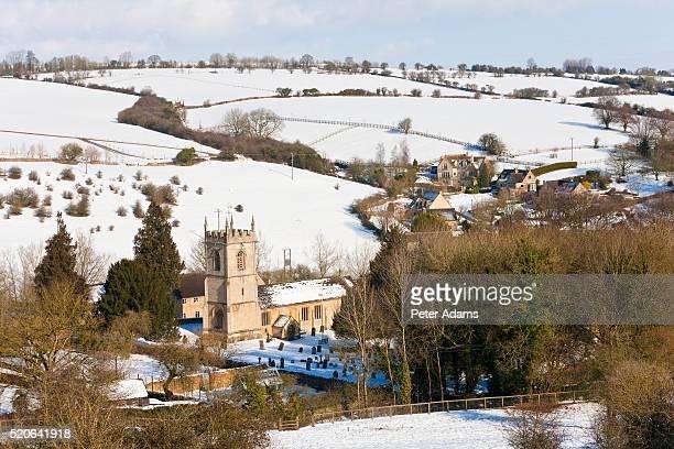 Naunton village in the snow
