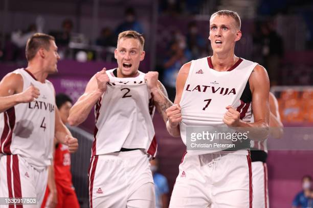 Nauris Miezis of Team Latvia celebrates victory in the 3x3 Basketball competition on day four of the Tokyo 2020 Olympic Games at Aomi Urban Sports...