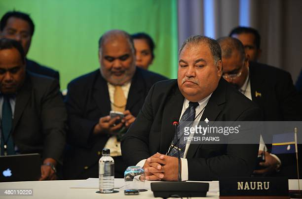 Nauru President Baron Divavesi Waqa attends the Pacific Islands Forum Foreign Ministers Meeting in Sydney on July 10 2015 Representatives from 15...