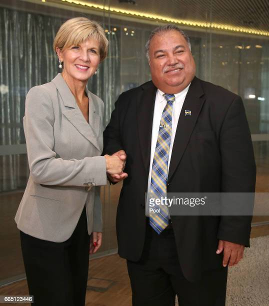 Nauru President Baron Waqa right meets with Australian Minister for Foreign Affairs Julie Bishop on April 6 2017 in in Sydney Australia The meeting...