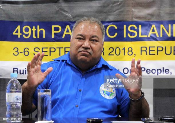 Nauruan President Baron Waqa speaks at a press conference in Nauru on Sept 4 2018 ==Kyodo