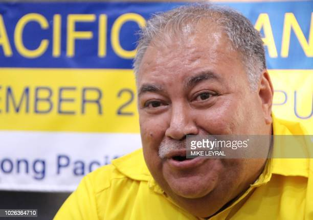 Nauru's President Baron Waqa attends a press conference after the Small Island States meeting in Aiwo on September 3 ahead of the start of the...