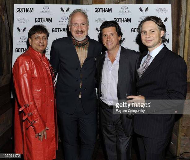 Naushab Ahmed of Allen Brothers Steaks Art Smith Herb Karlitz and Niche Media CEO Jason Binn attend the kick off of the NYC Wine Food Festival with...