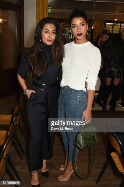 Nausheen Shah and Hannah Bronfman arrive as Topshop and Leandra Medine host dinner to celebrate London Fashion Week on February 19 2017 in London...