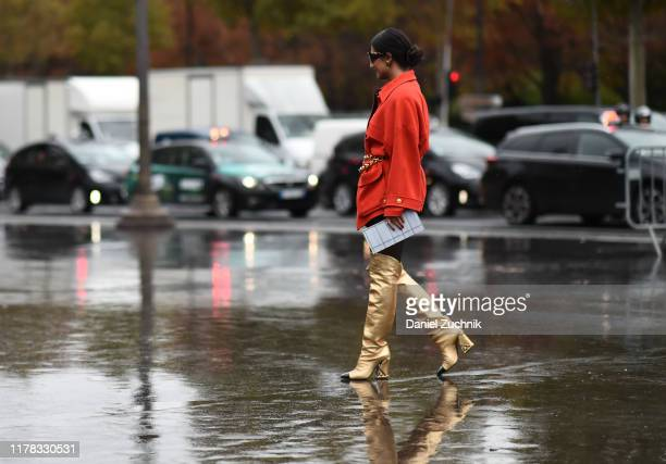 Nausheen Shah is seen wearing Chanel outside the Chanel show during Paris Fashion Week SS20 on October 1, 2019 in Paris, France.