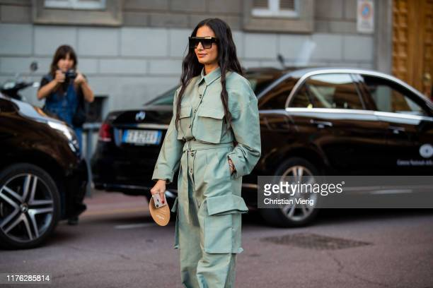 Nausheen Shah is seen wearing overall outside the Ferragamo show during Milan Fashion Week Spring/Summer 2020 on September 21, 2019 in Milan, Italy.
