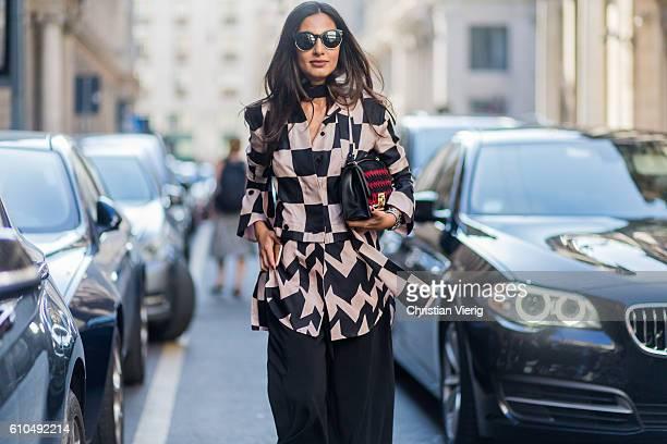 Nausheen Shah outside Ferragamo during Milan Fashion Week Spring/Summer 2017 on September 25 2016 in Milan Italy