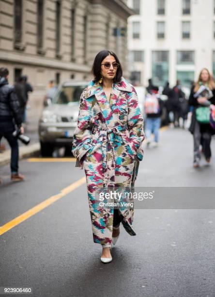 Nausheen Shah seen outside Salvatore Ferragamo during Milan Fashion Week Fall/Winter 2018/19 on February 24 2018 in Milan Italy