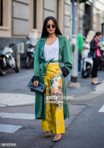 Nausheen Shah wearing green kimono, yellow pants is seen outside Max Mara during Milan Fashion Week Spring/Summer 2018 on September 21, 2017 in...
