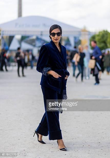 Nausheen Shah wearing velvet outside Elie Saab on October 1 2016 in Paris France