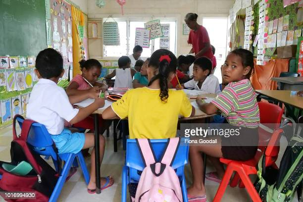 Nauti Primary school is one of two on the main island where children learn in their native language and in english on August 15, 2018 in Funafuti,...