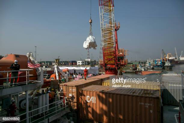 Nautical Aliya crew unloads aid from the Nautical Aliya February 14, 2017 in Chittagong, Bangladesh. The Rohingya aid ship, Nautical Aliya, carrying...
