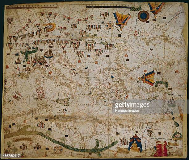 Nautical chart of the Mediterranean Sea and the Black Sea 1440s Artist Rossell Pere