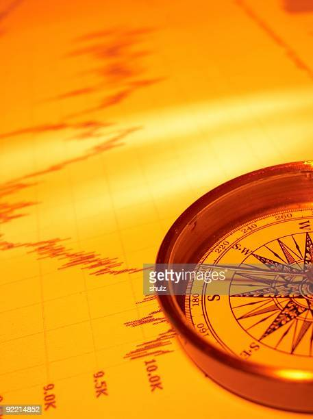Nautical compass on stock chart.