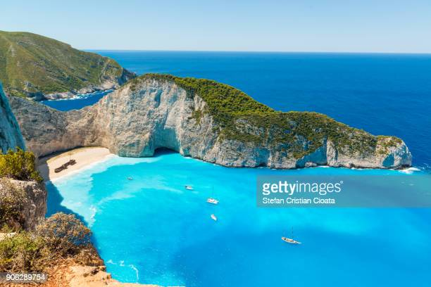 navagio beach în zakynthos greece - mediterranean sea stock pictures, royalty-free photos & images