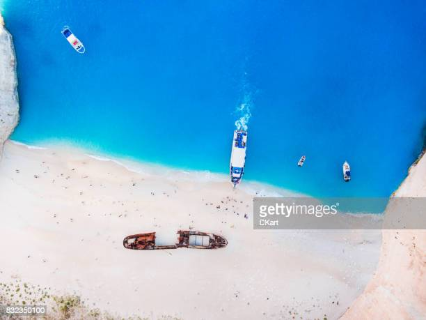 navagio beach, zakynthos island, greece - mediterranean sea stock pictures, royalty-free photos & images