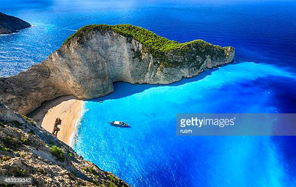 navagio beach (shipwreck beach), zakynthos island, greece. prophoto rgb. - greece stock pictures, royalty-free photos & images