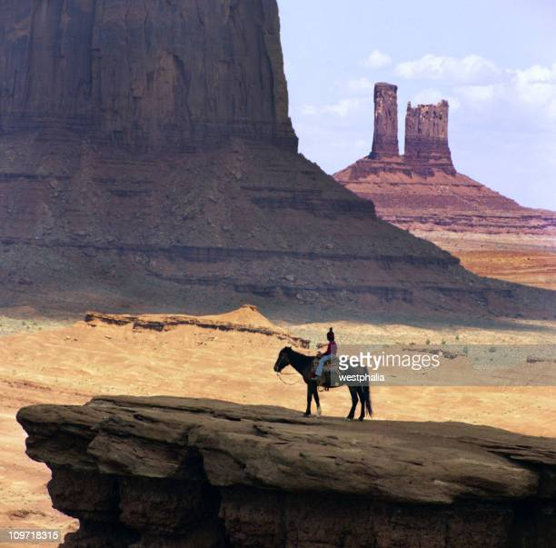 Navajo Boy on Horse in Monument Valley