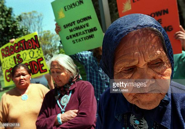 Navajo elders from left Vina Horseherder left Ruth Benally and May Shay rt are joined by members of environmental and human rights groups in...