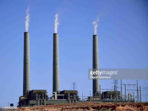 navajo generation station in page - smoke stack stock pictures, royalty-free photos & images