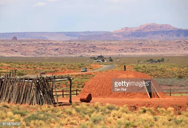navajo hogan house in monument valley, arizona, usa - navajo hogan stock photos and pictures