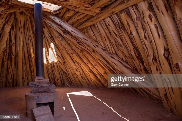 navajo hogan interior at monument valley - navajo hogan stock photos and pictures