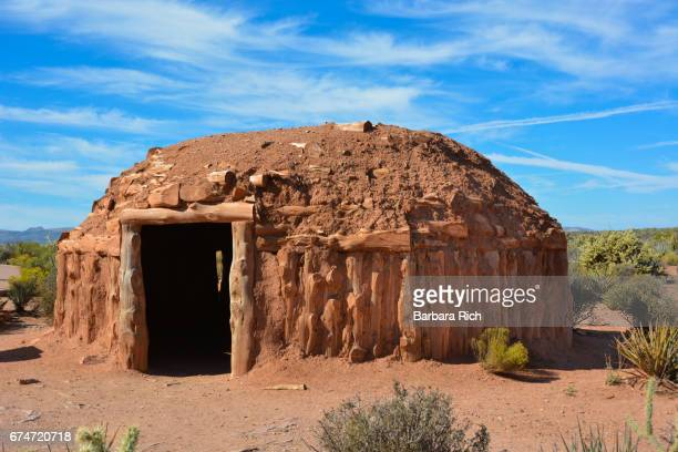 navajo hogan on display at eagle point on the hualapai indian reservation on the west rim of the grand canyon - navajo hogan stock photos and pictures
