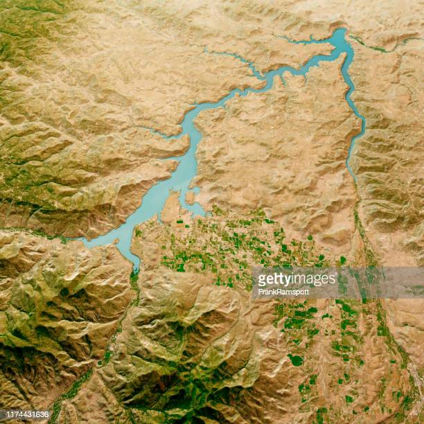 navajo lake 3d render aerial landscape view from north aug 2019 - frankramspott stock pictures, royalty-free photos & images