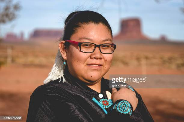 navajo native american teenage girl outdoor portrait - native american reservation stock pictures, royalty-free photos & images