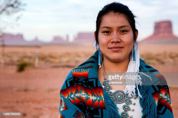 navajo native american teenage girl outdoor portrait - indigenous culture stock pictures, royalty-free photos & images