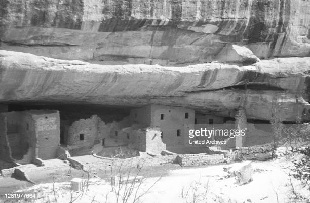 Navajo rock dwellings, 'Spruce Tree House', Arizona, Utah, Colorado, USA, photo circa 1959.