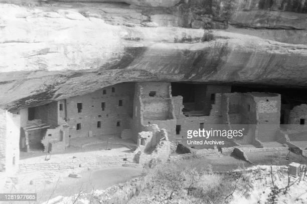 Navajo rock dwellings, 'Spruce Tree House', Arizona, Utah, Colorado, USA, photo circa 1960.