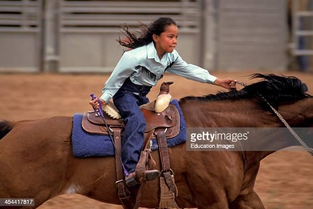 Navajo Rodeo Shonto Arizona Girl Riding Horse