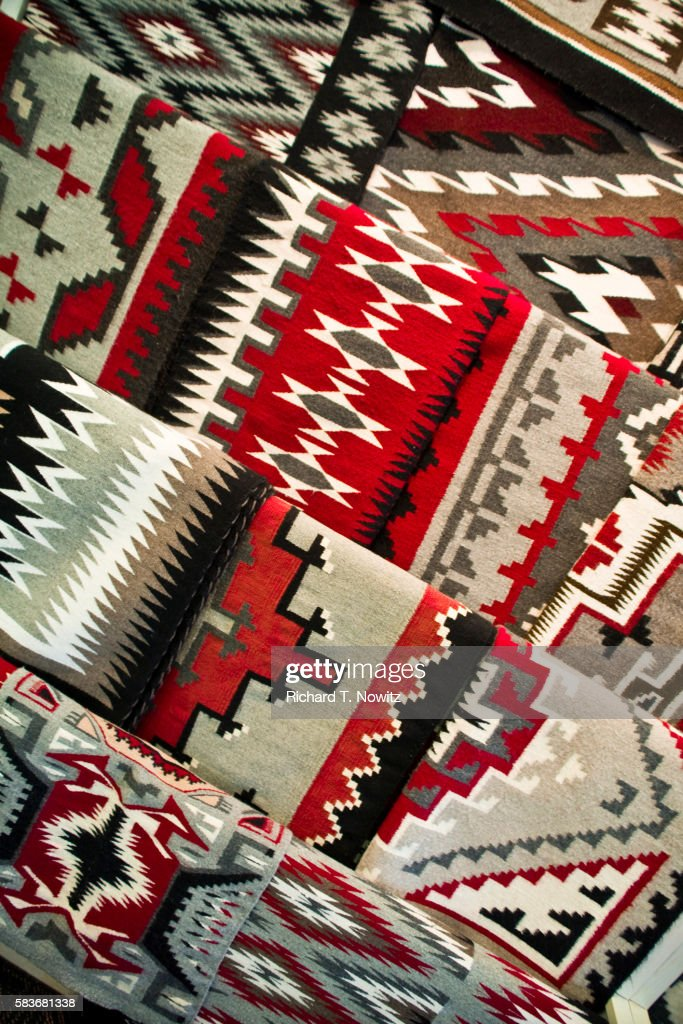Navajo Rugs For Sale In The Hubbell Trading Post In Arizona Stock
