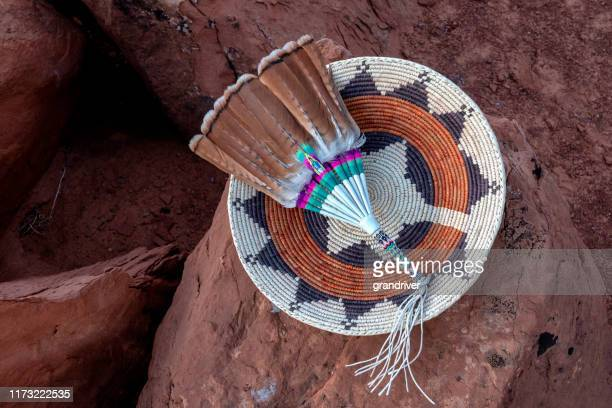 navajo wedding basket - apache indian stock pictures, royalty-free photos & images