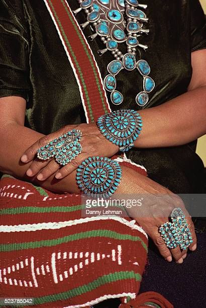 Navajo Woman Wearing Traditional Turquoise Jewelry