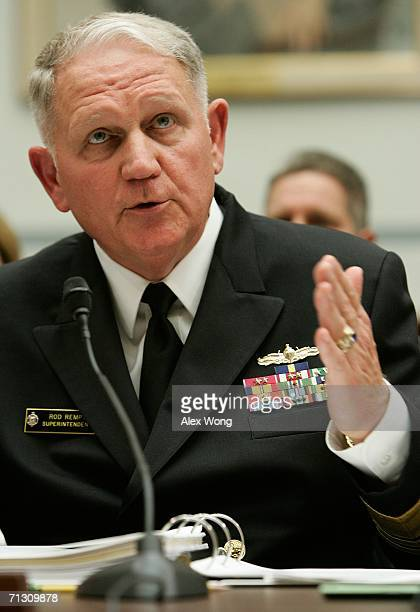 S Naval Academy Superintendent Vice Admiral Rodney Rempt testifies during a hearing before the House Subcommittee on National Security Emerging...