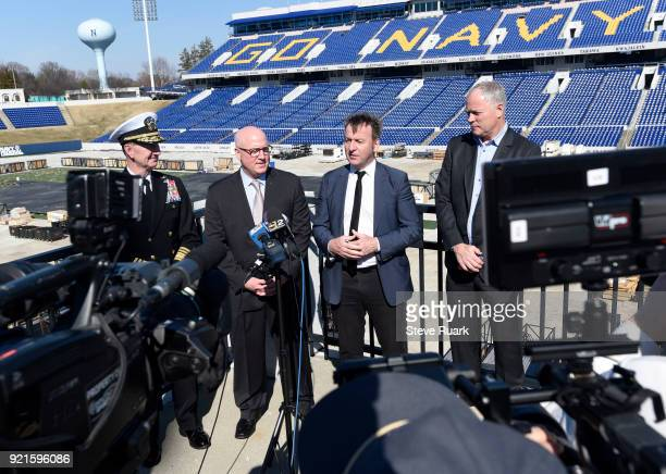 US Naval Academy Superintendent Vice Admiral Walter E 'Ted' Carter NHL Deputy Commissioner Bill Daly Mayor Gavin Buckley of Annapolis Maryland and...