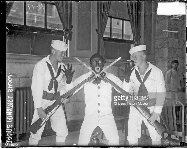 Naval apprentices giving a minstrel show at Great Lakes Naval Training Station text on the image reads Jackie Minstrel Show Chicago Illinois 1917