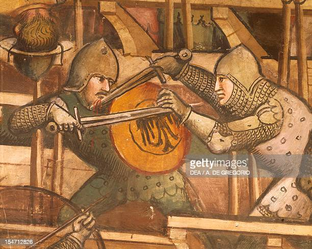 Naval Battle at Punta di San Salvatore scene from the Stories of Alexander III 14071408 by Spinello Aretino fresco Priory Room Public Palace Siena...