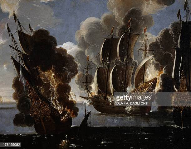 Naval battle between British and French ships in the Mediterranean oil on canvas 17th century Genoa Pegli Civico Museo Navale