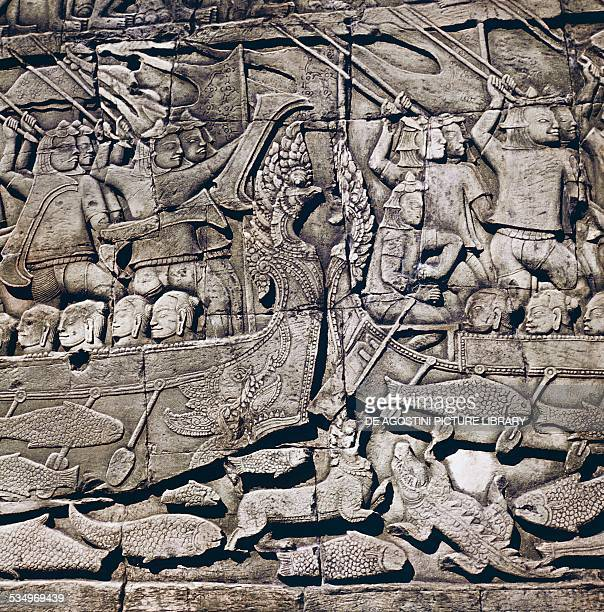 Naval battle between Cham and Khmer detail of a basrelief of Bayon Temple Angkor Thom Angkor archaeological site Cambodia