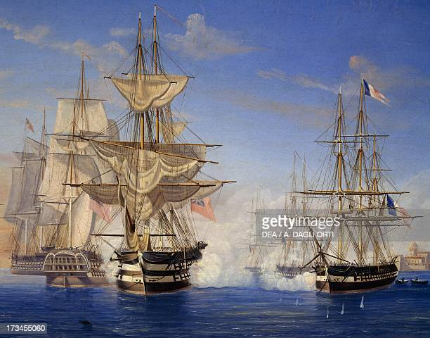 Naval battle between the French and British oil on canvas by an unknwon artist 19th century Genoa Pegli Civico Museo Navale