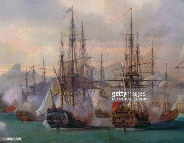 Naval battle in La Praya bay on April 16 Santiago island Cape Verde painting American Revolutionary War 18th century Detail