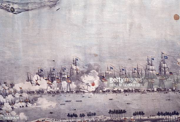 Naval battle in Maracaibo July 24 1823 SpanishAmerican wars of independence Venezuela 19th century