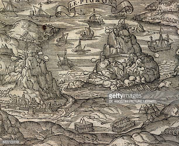 Naval battle near the Le Pignon island engraving from Cosmographie universelle by Andre Thevet Paris 1575 Asia 16th century Venice Biblioteca...